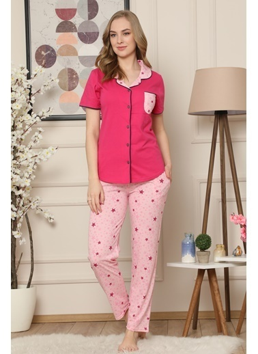 Akbeniz Kadın Fuşya Pamuklu Düğmeli Cepli Kısa Kol Pijama Takım 2543 Fuşya